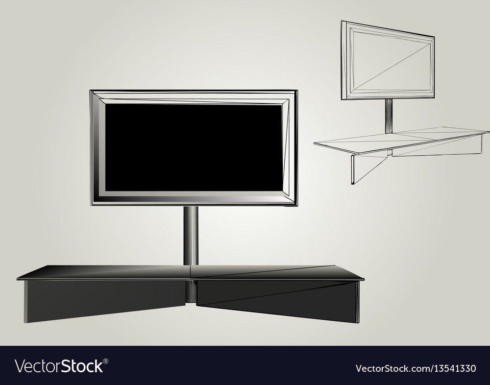 Tv with stand vector image