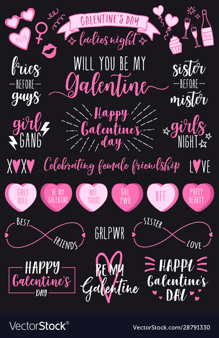 Valentines day galentines day female party set