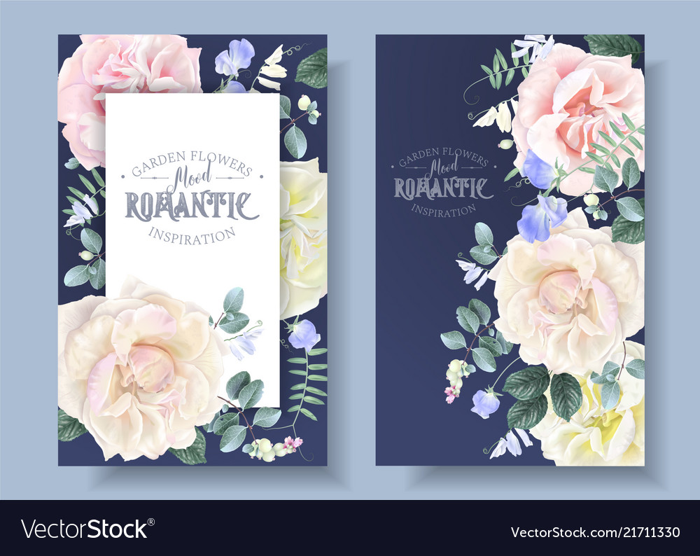 Vintage floral banners with garden roses