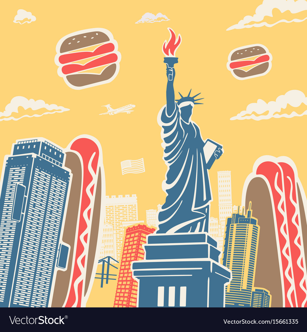 American Symbols Architecture And Food Background Vector Image