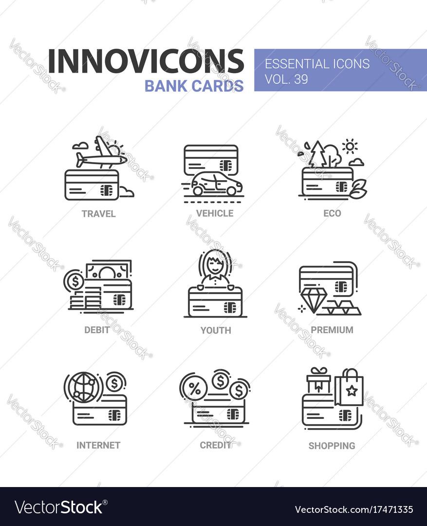 Bank cards - modern line design icons set