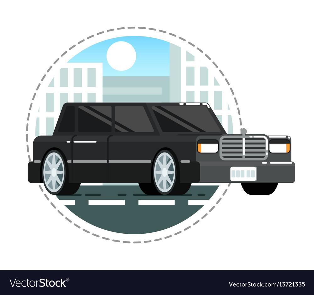 Black Luxury Limo Car Icon Royalty Free Vector Image