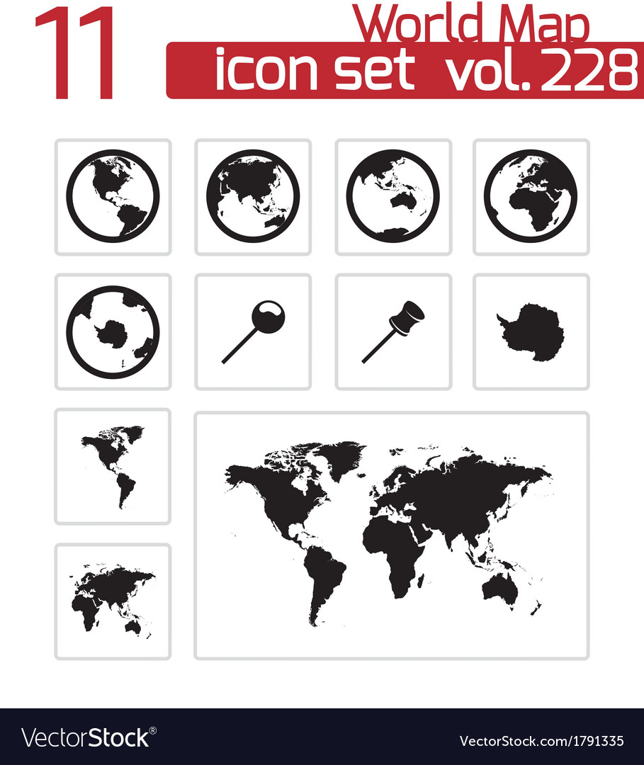 Black world map icons set royalty free vector image black world map icons set vector image gumiabroncs Images
