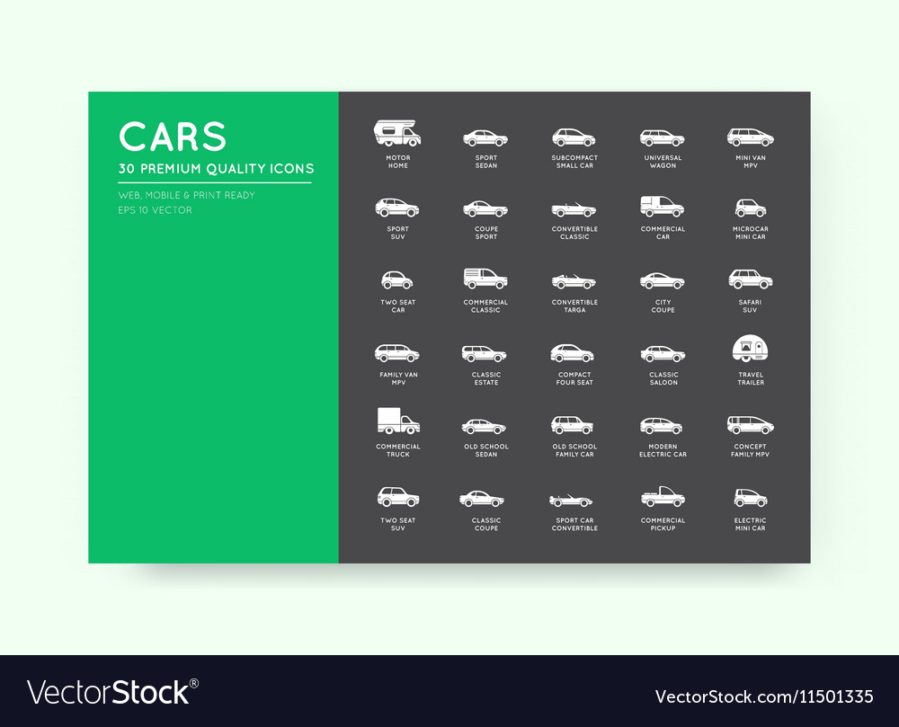 Car Icons Set with All Car Types and Names
