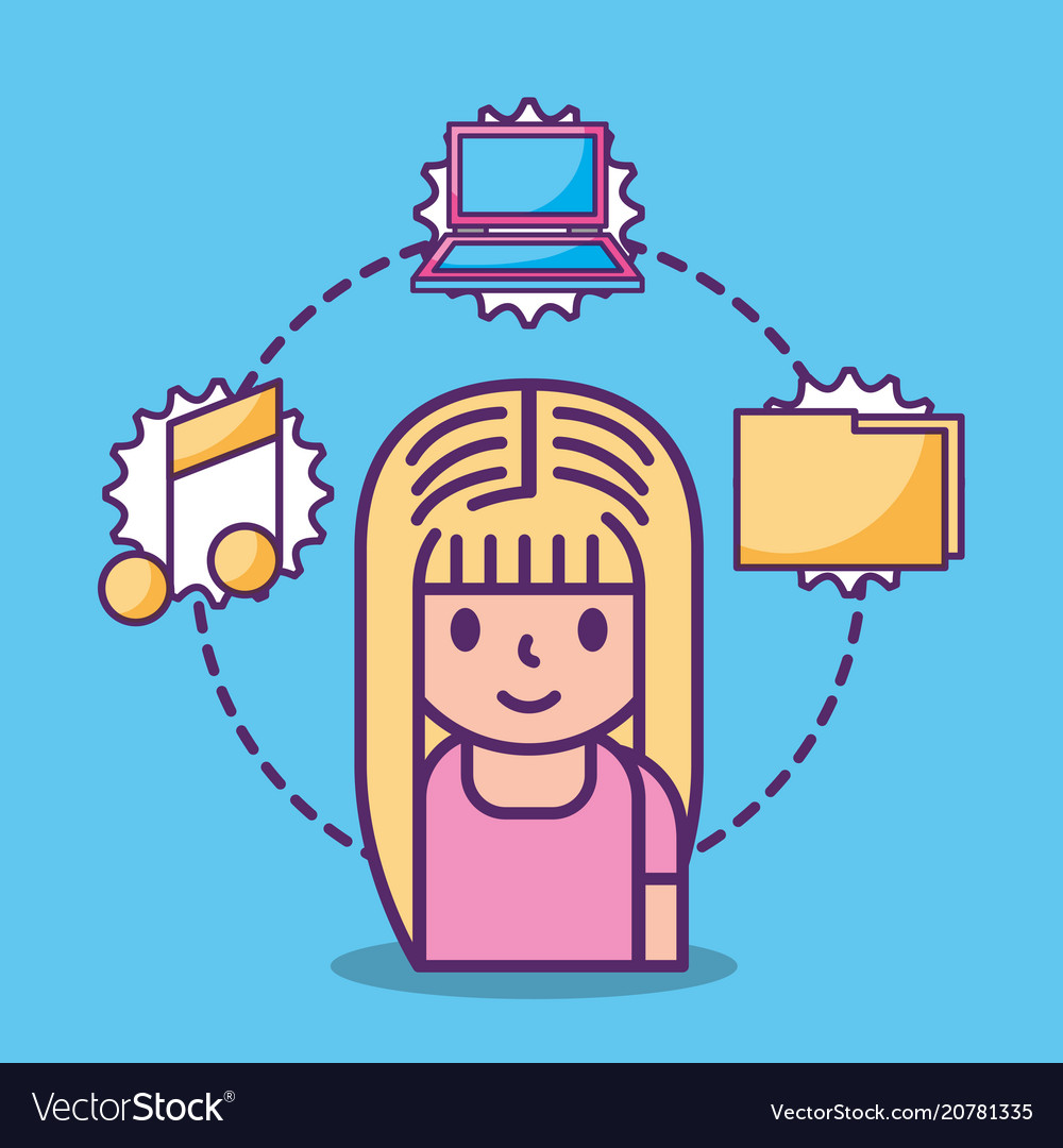 Cartoon young girl and social media icons vector image