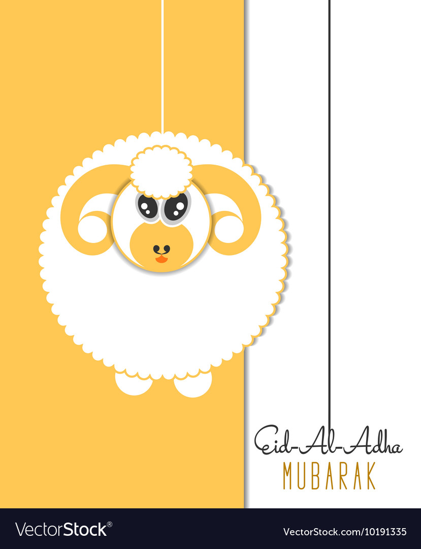 Eid Al Adha Greeting Card With Sheep Royalty Free Vector