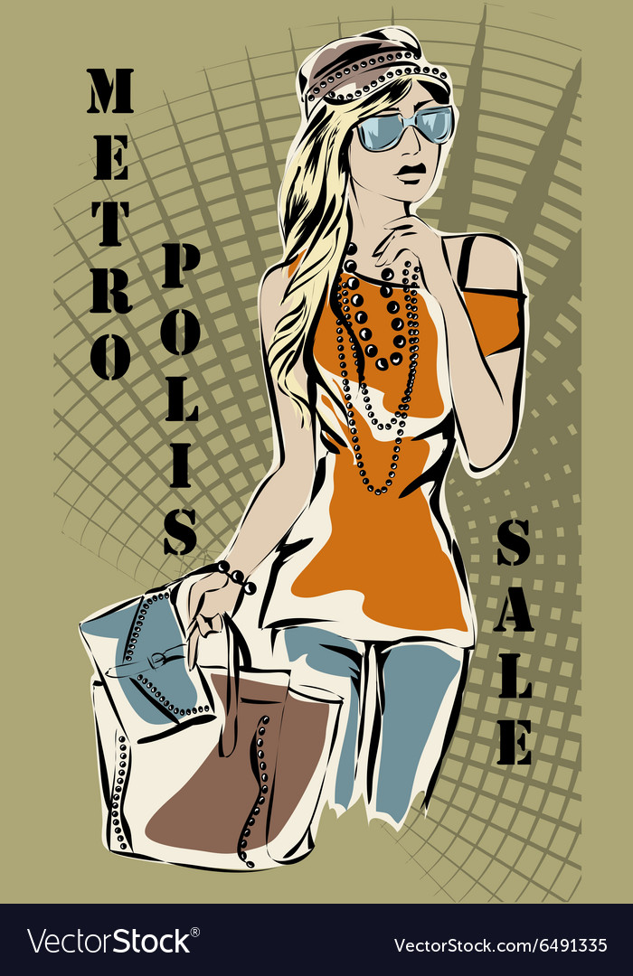 Fashion woman with shopping bags sale vector image