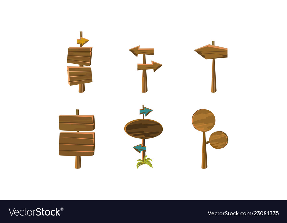 Flat set of wooden arrows and signboards
