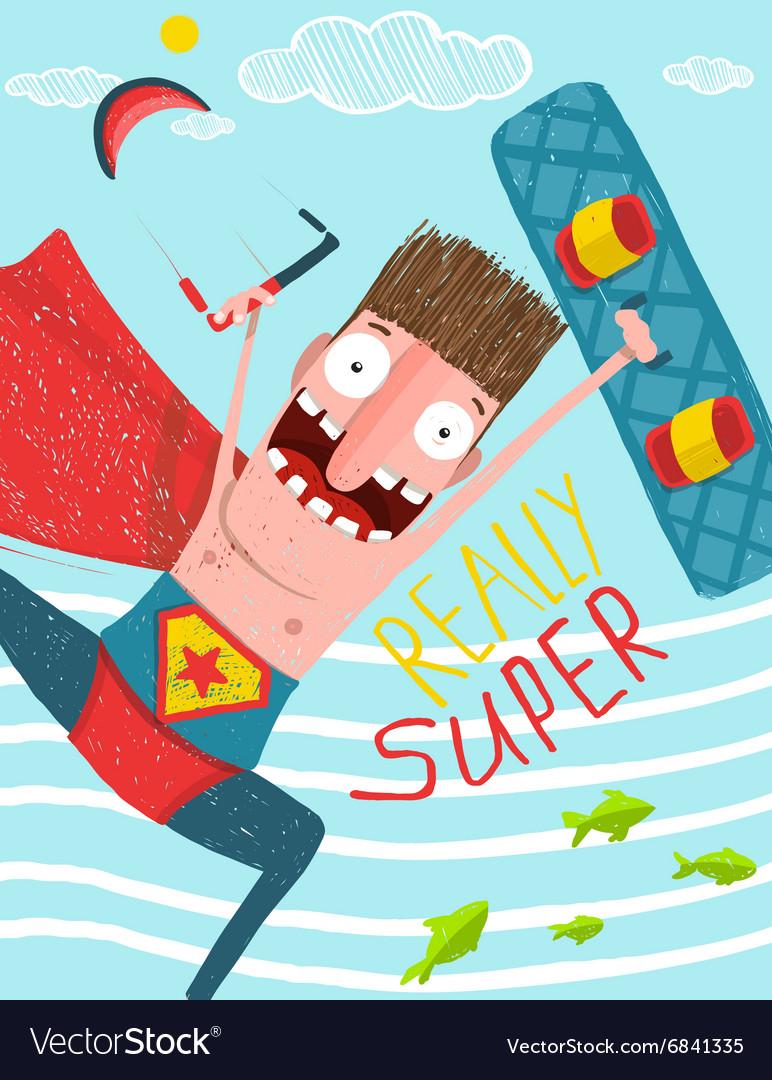 Kitesurfing caricature superman cartoon card vector image