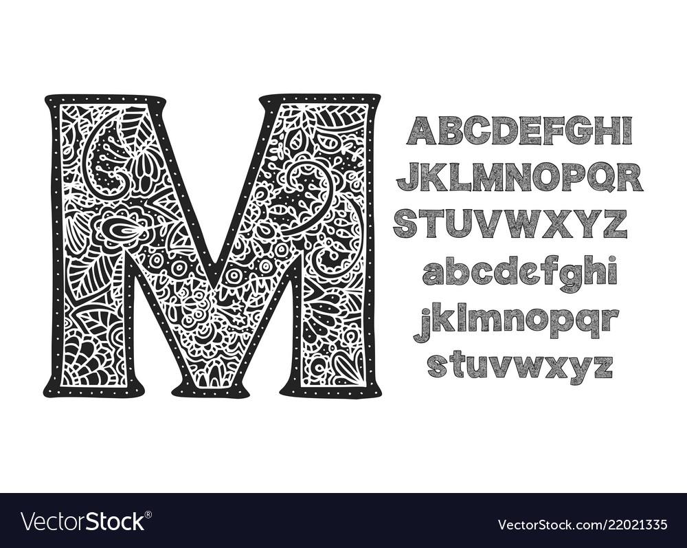 Ornate decorative font monogram letters