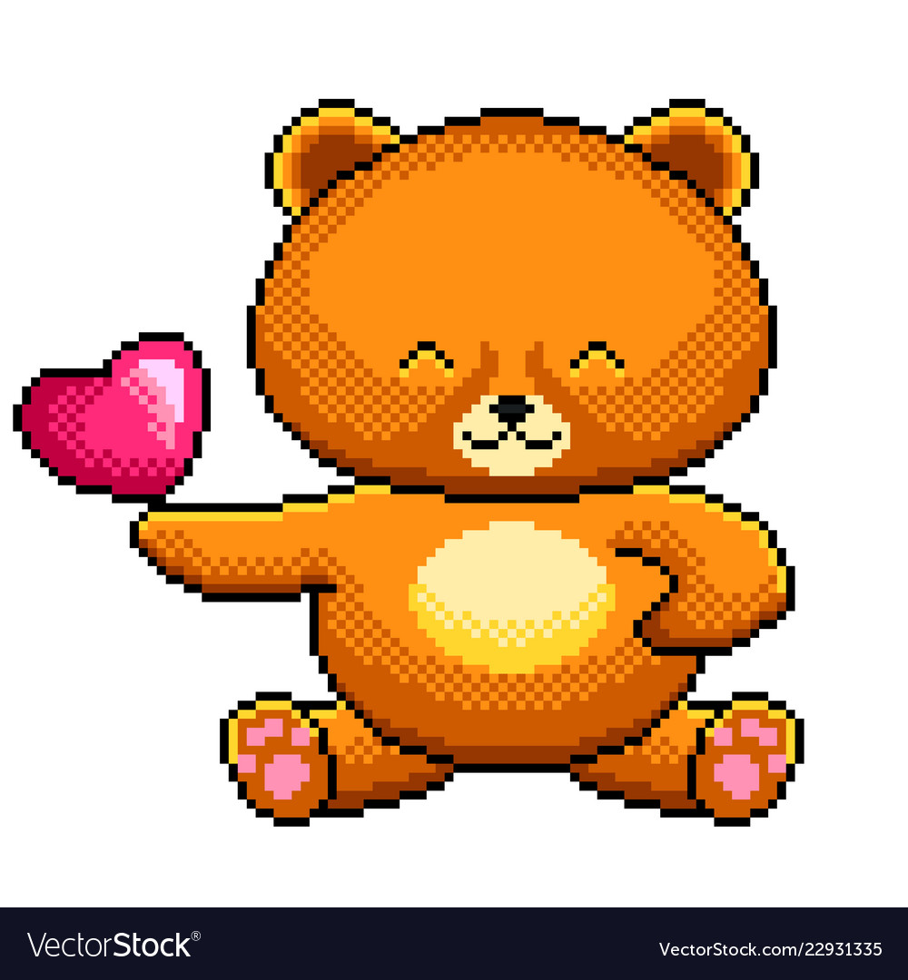 Pixel cute teddy bear detailed isolated