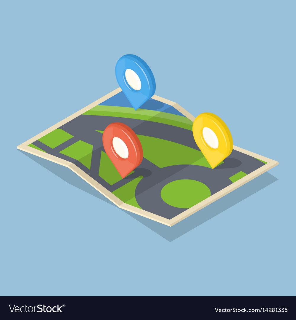 Pointers on map gps navigation concept icon