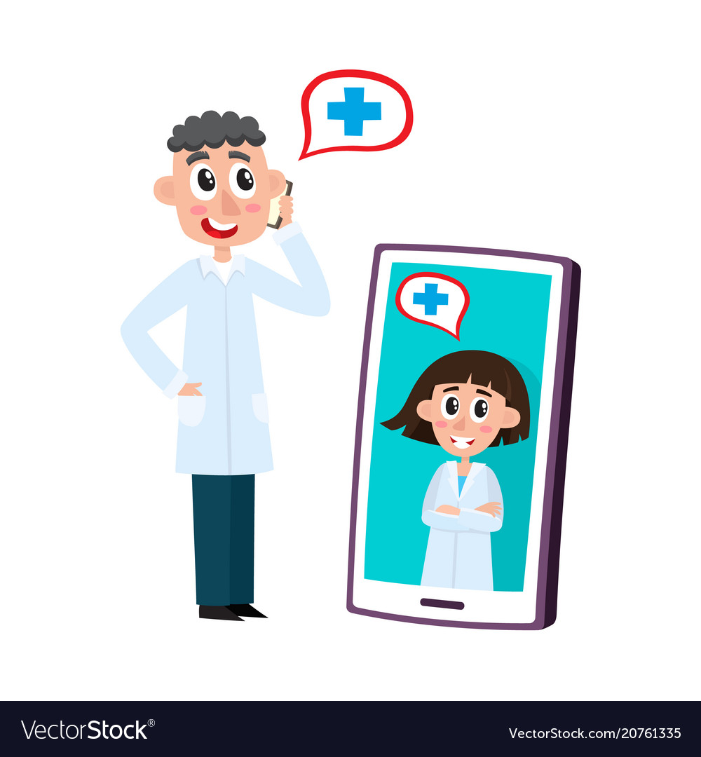 Remote medical assistance set with doctors vector image