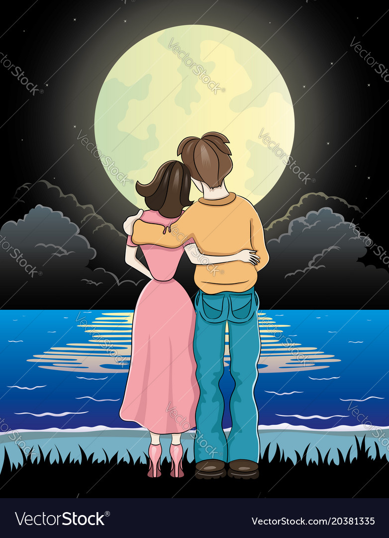 Romantic Couple And Moonlit Night Royalty Free Vector Image