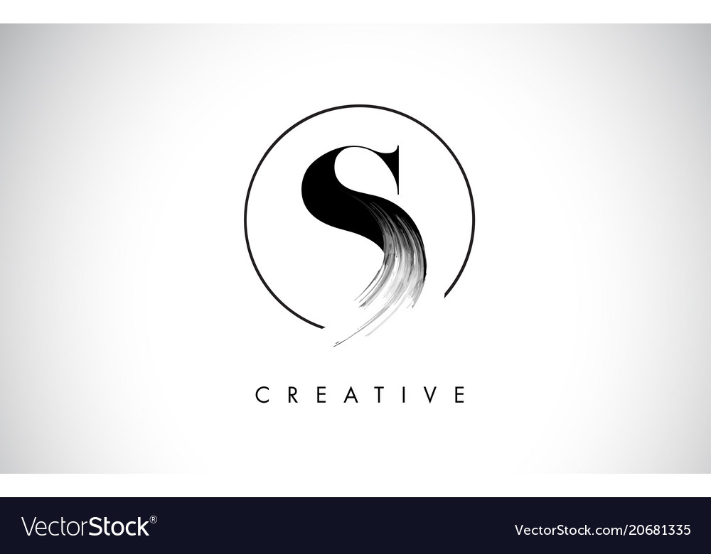 S Brush Stroke Letter Logo Design Black Paint