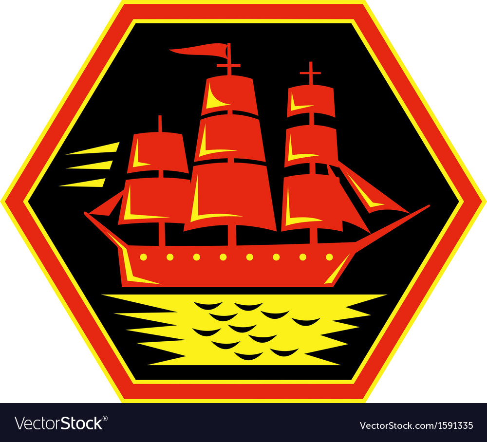 Sailing ship or clipper icon vector image
