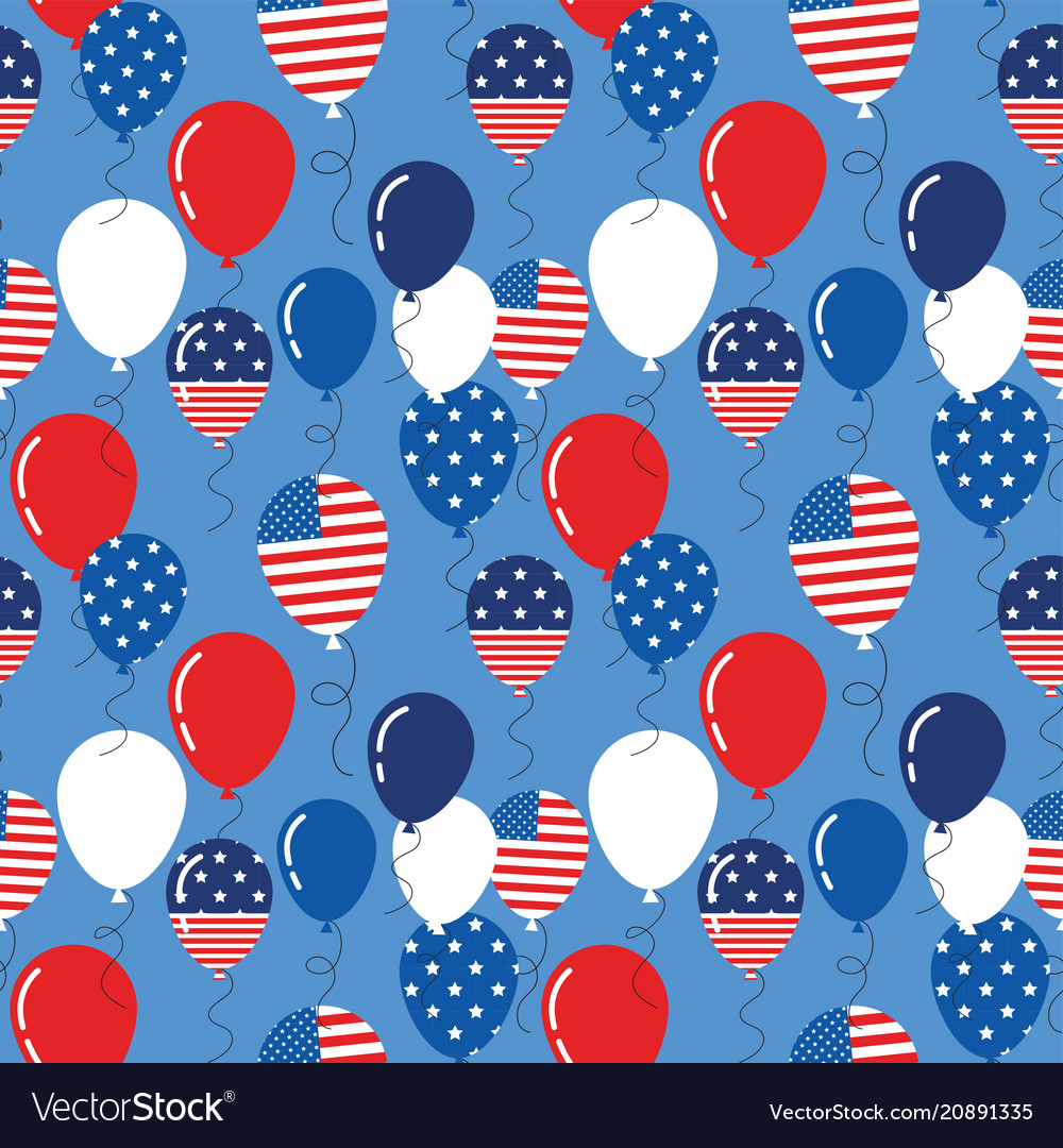 Seamless pattern with patriotic balloons