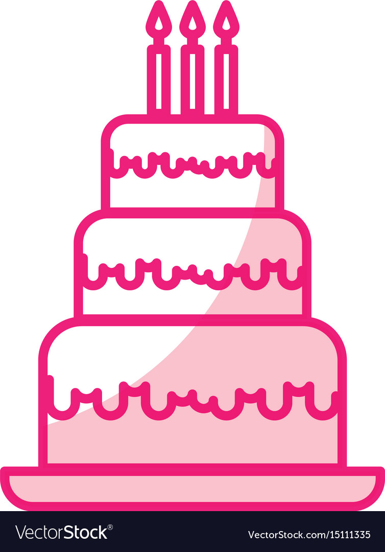 Shadow Cute Birthday Cake Cartoon Vector Image