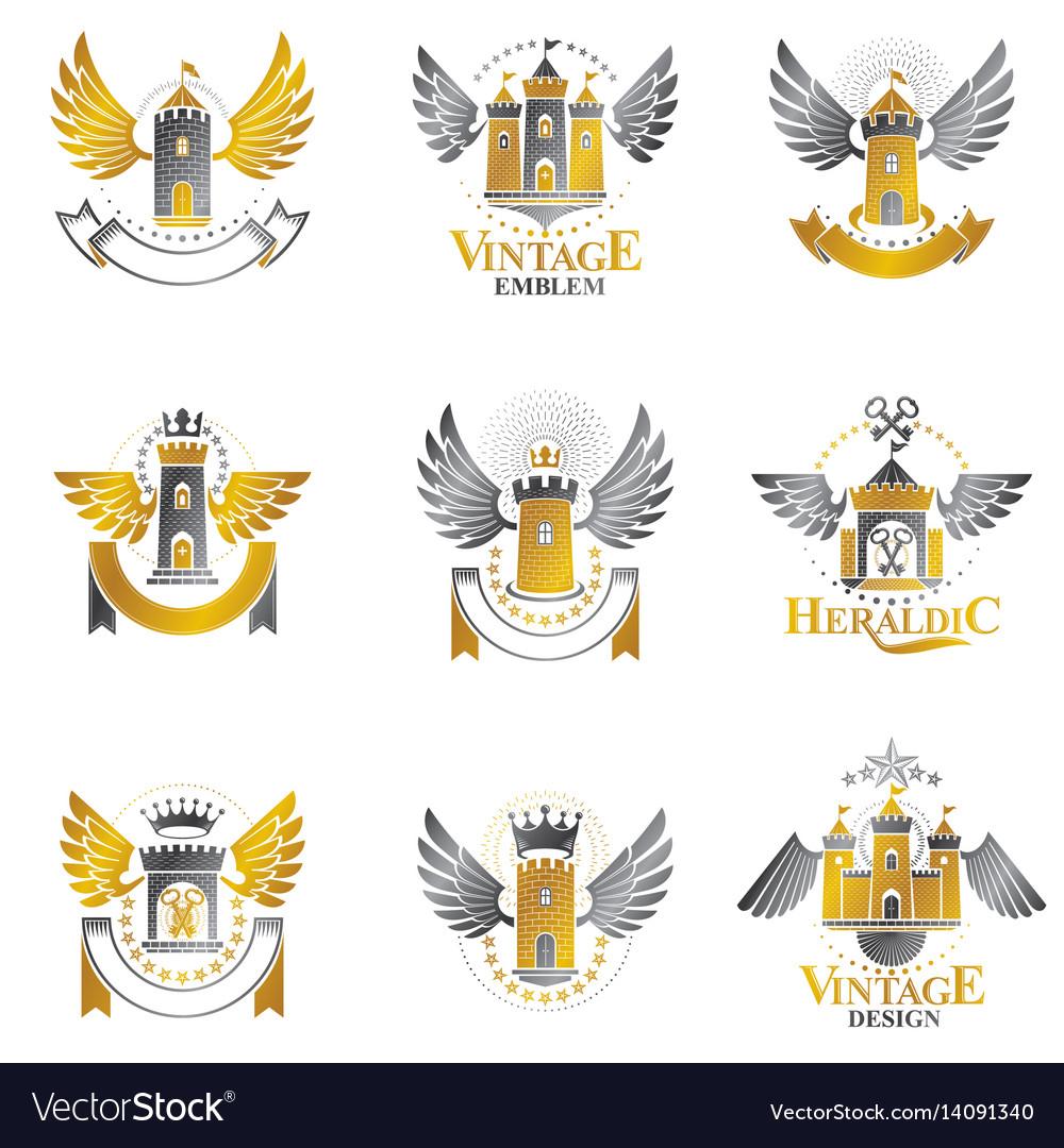 Ancient forts emblems set heraldic coat of arms