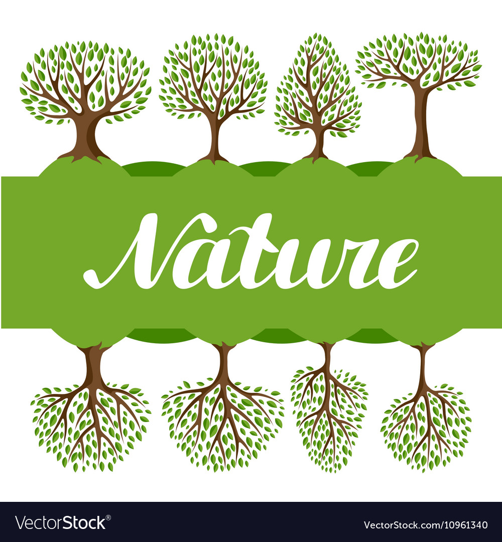 Background with abstract stylized trees Natural vector image