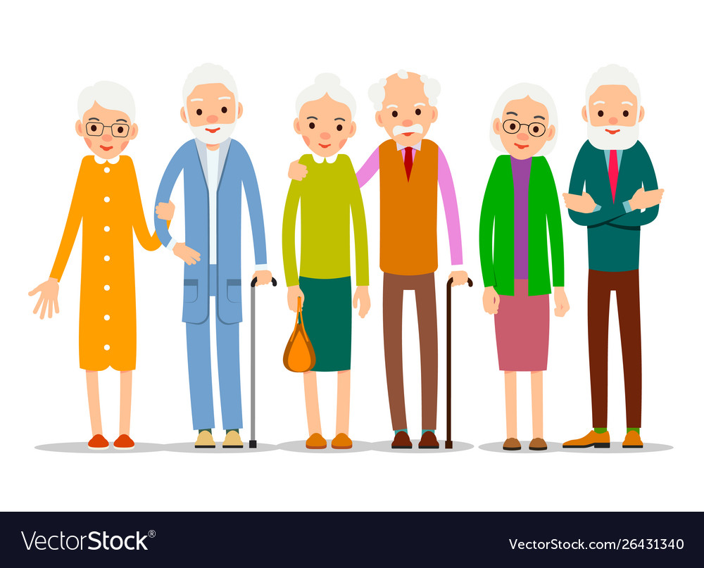 Cartoon character old group older people are Vector Image