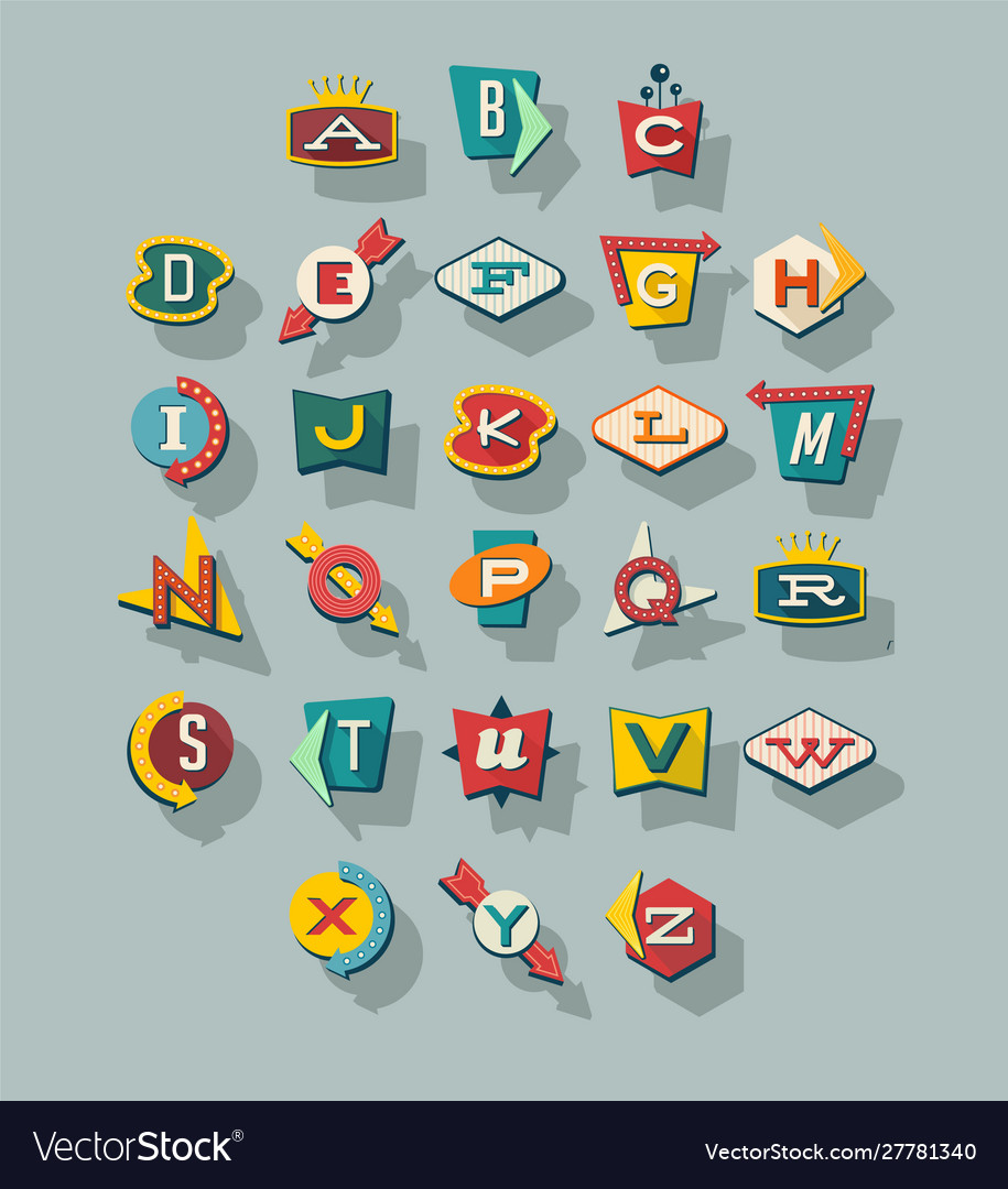 Dimensional retro style signs alphabet vector