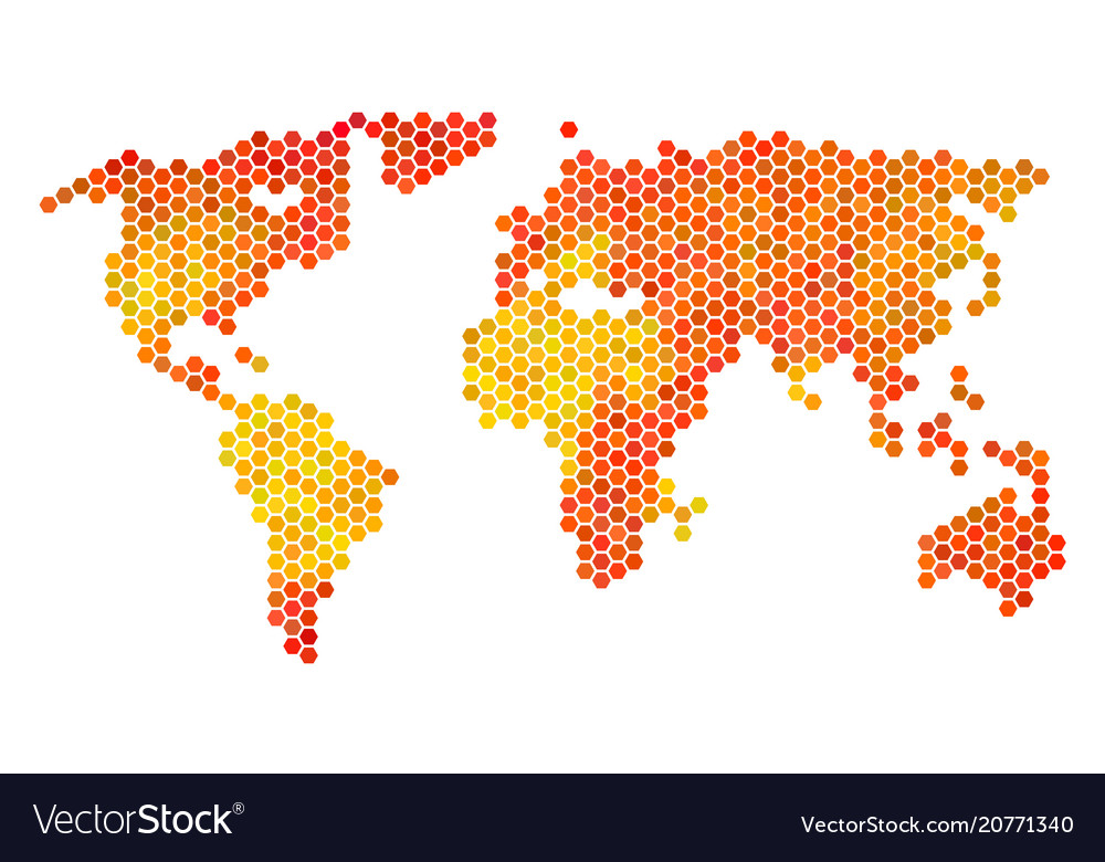 Fired hexagon world map Royalty Free Vector Image