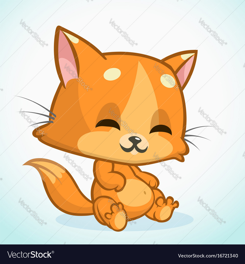 Funny Cat Cartoon Royalty Free Vector Image Vectorstock