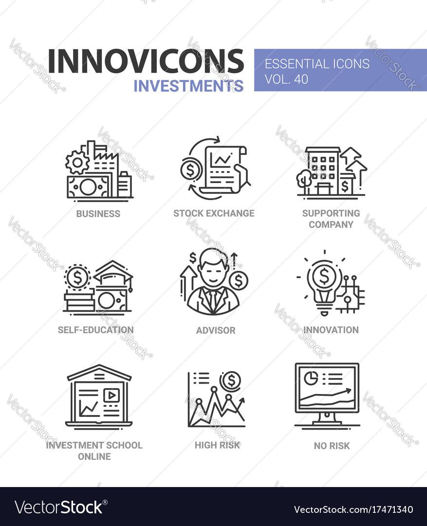 Investments - modern line design icons set