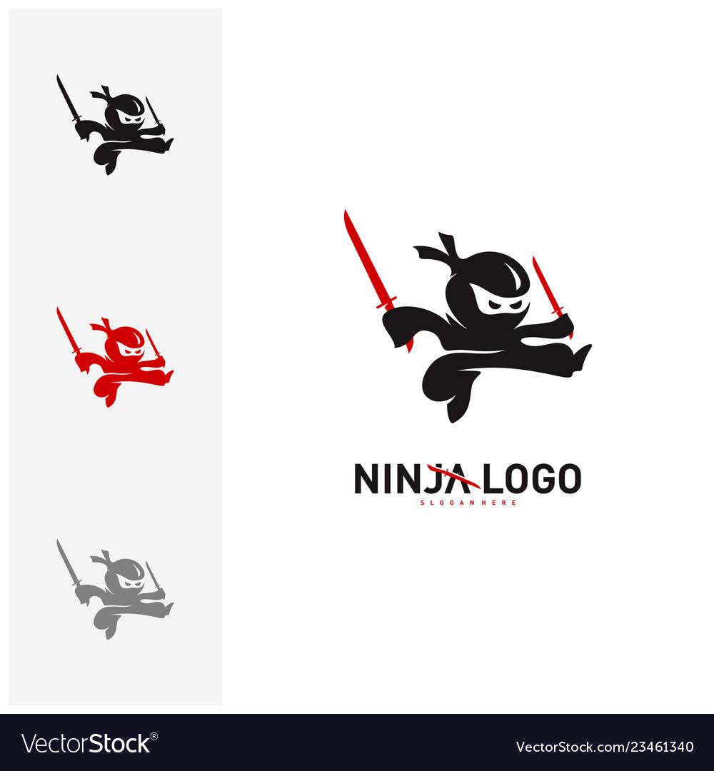 Ninja warrior logo design template silhouette of