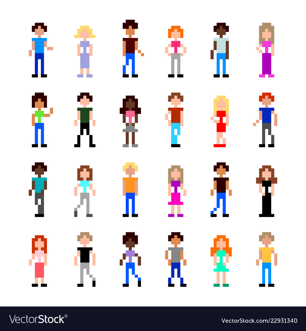 Pixel people for game set detailed isolated