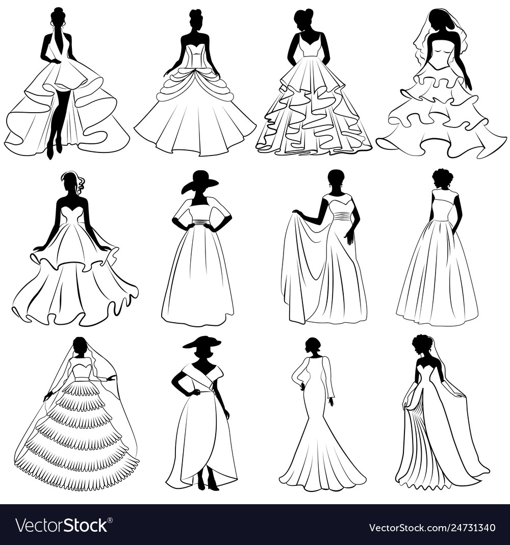 set of brides silhouettes in wedding dress