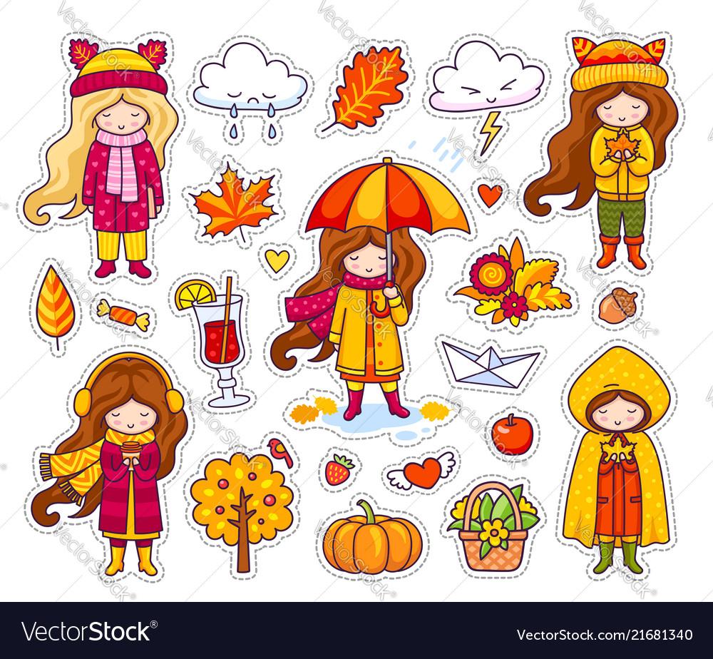 Set of cute autumn girls