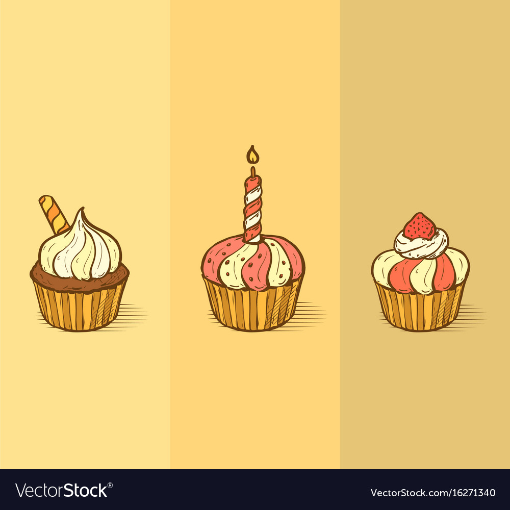 Three delicious yummy cupcakes with sprinkles