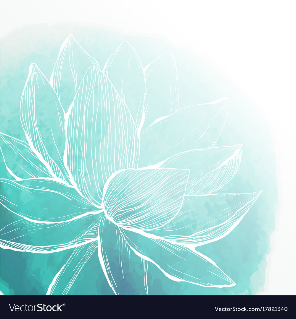 Watercolor Background With Lotus Flower Royalty Free Vector