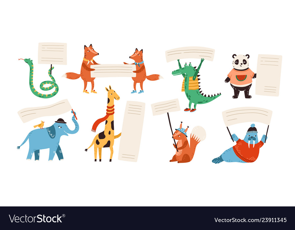 Cute funny wild animals holding empty banners
