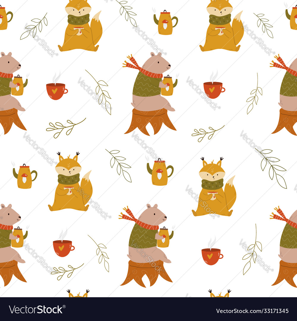 Cute seamless pattern with funny cute bears