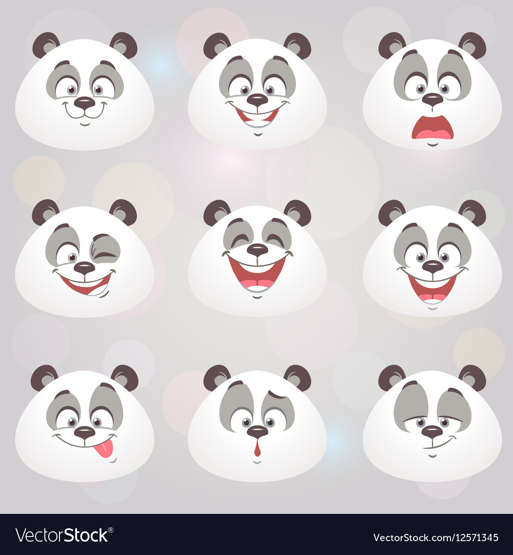 Happy panda set vector image