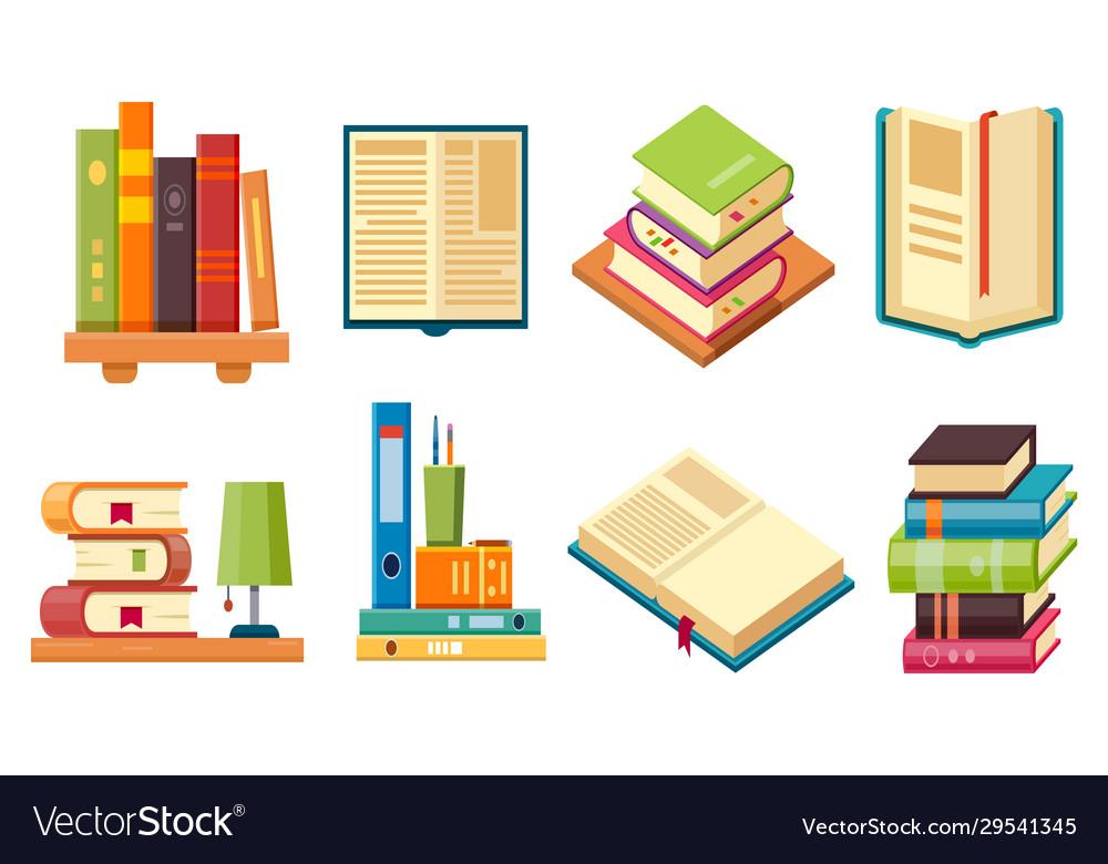 Isometric books on shelf library literature set