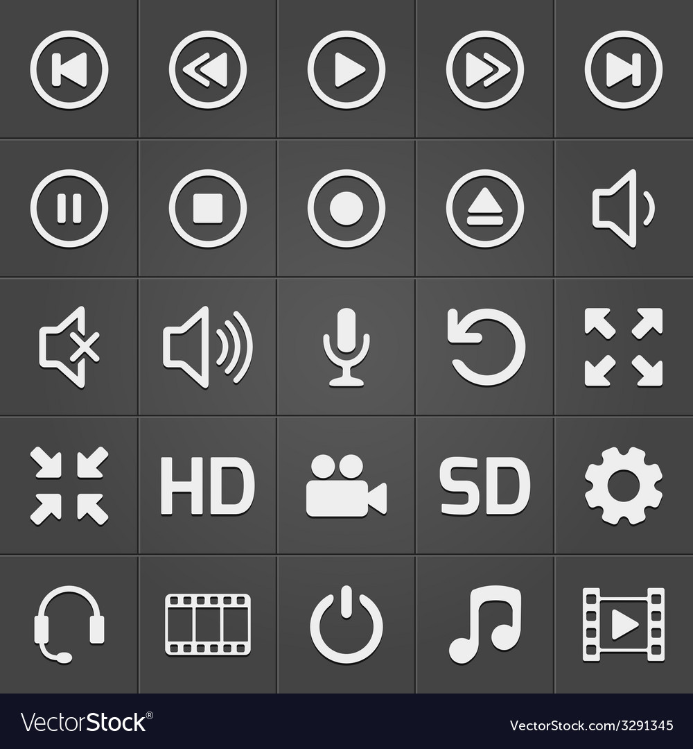 Media interface icon on black background