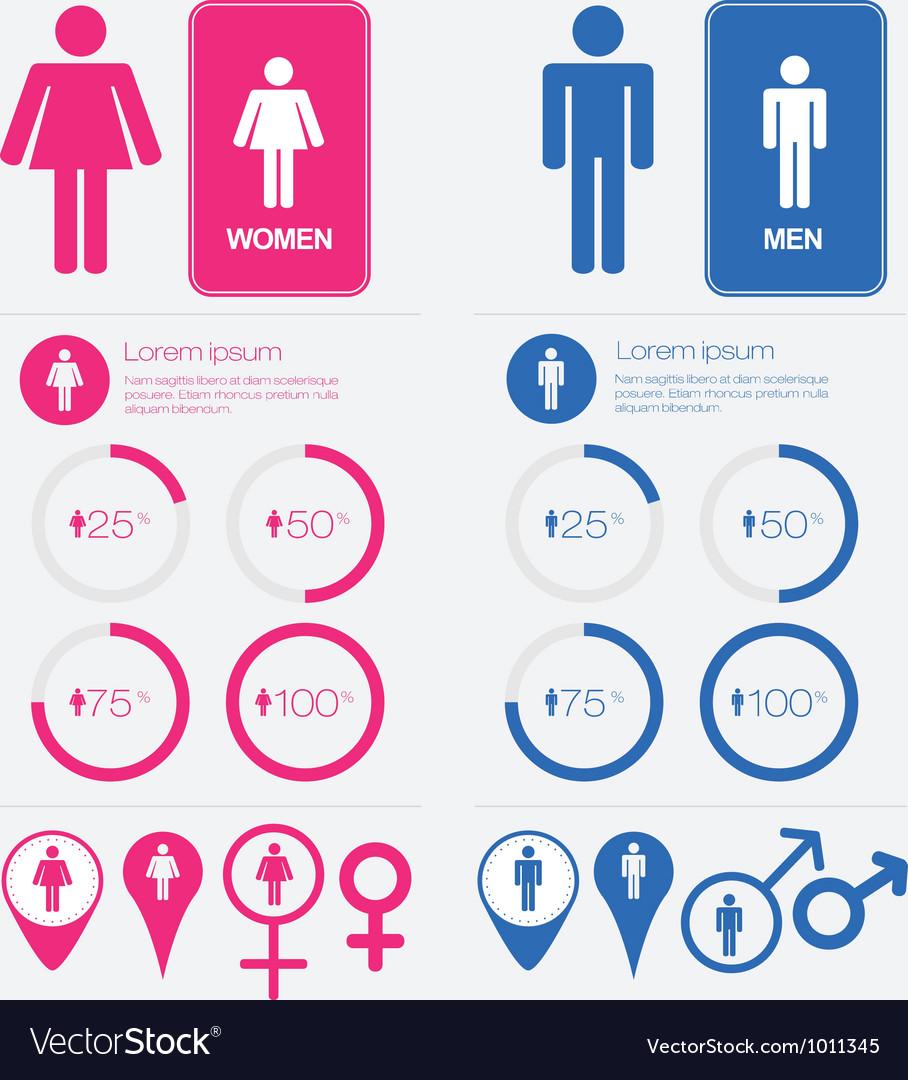 Men and Women Gender Signs set