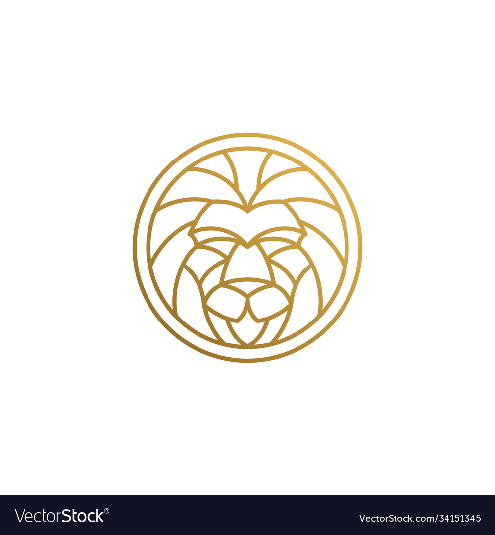 Outline Emblem Geometric Lion Head In Circle Vector Image Show off your brand's personality with a custom geometric lion logo designed just for you by a professional designer. vectorstock