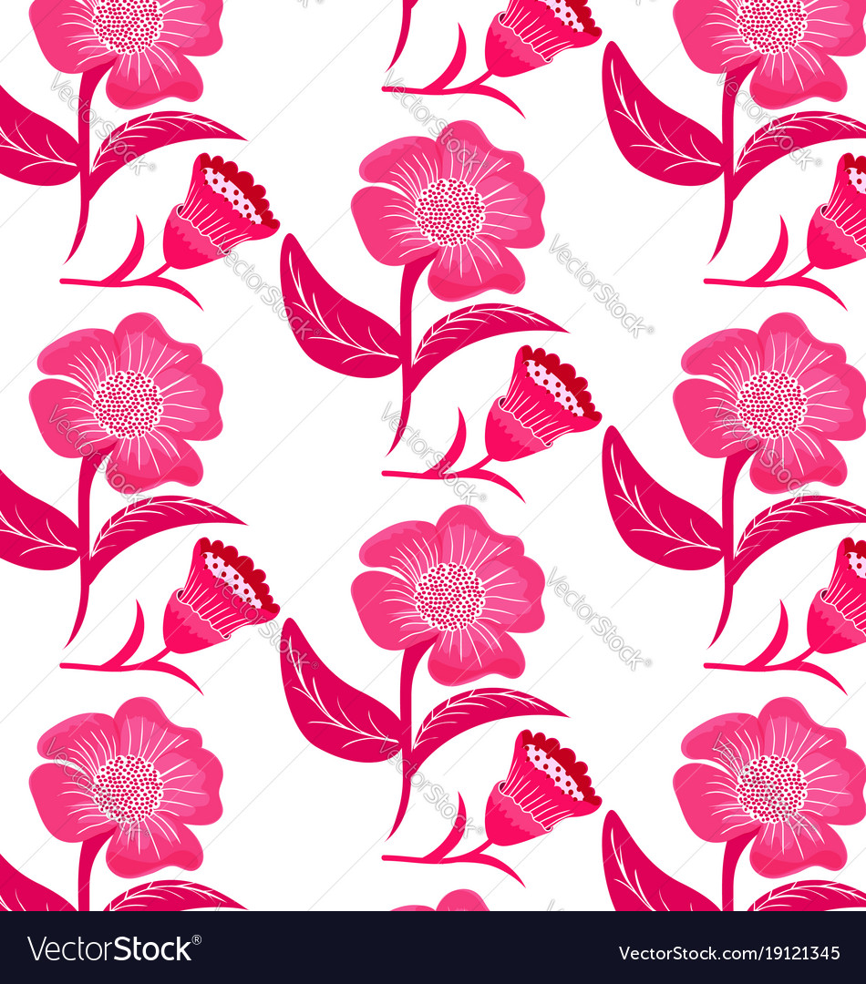 Patterns Pink Flowers Royalty Free Vector Image