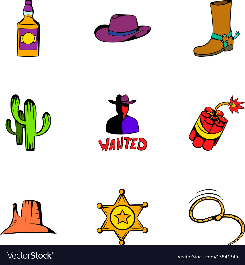 Rodeo icons set cartoon style