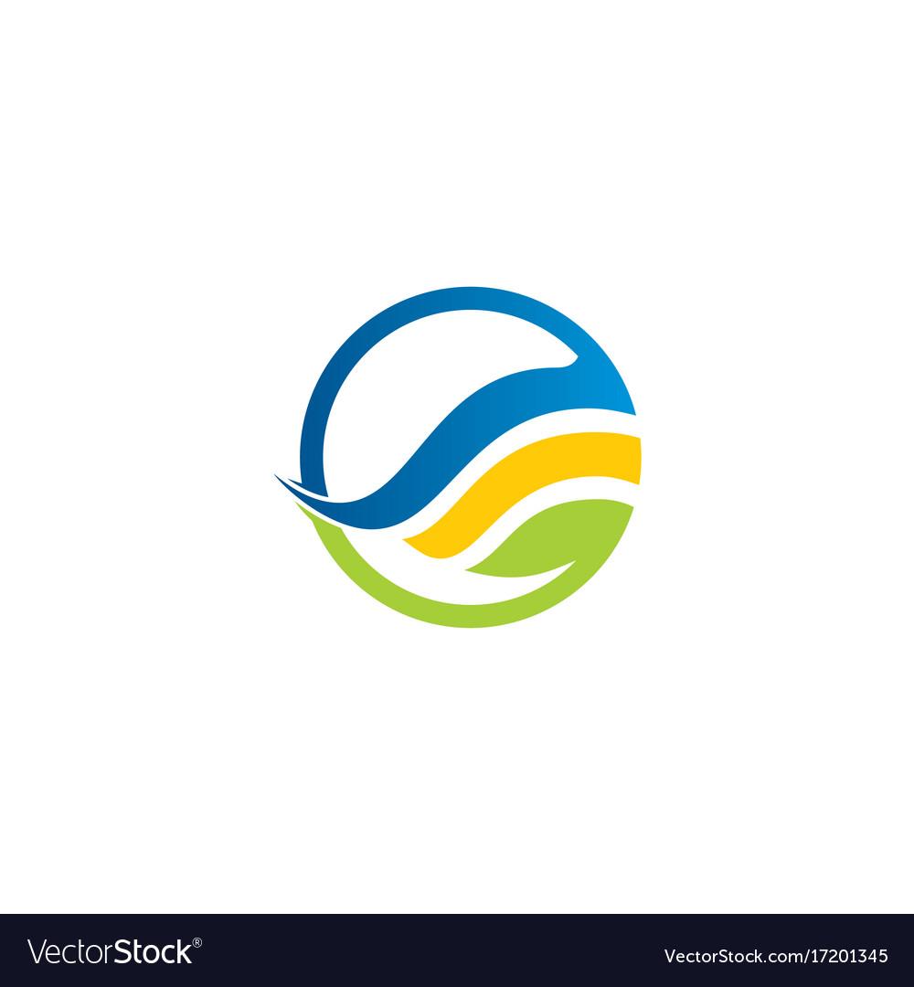 Round ecology green leaf logo