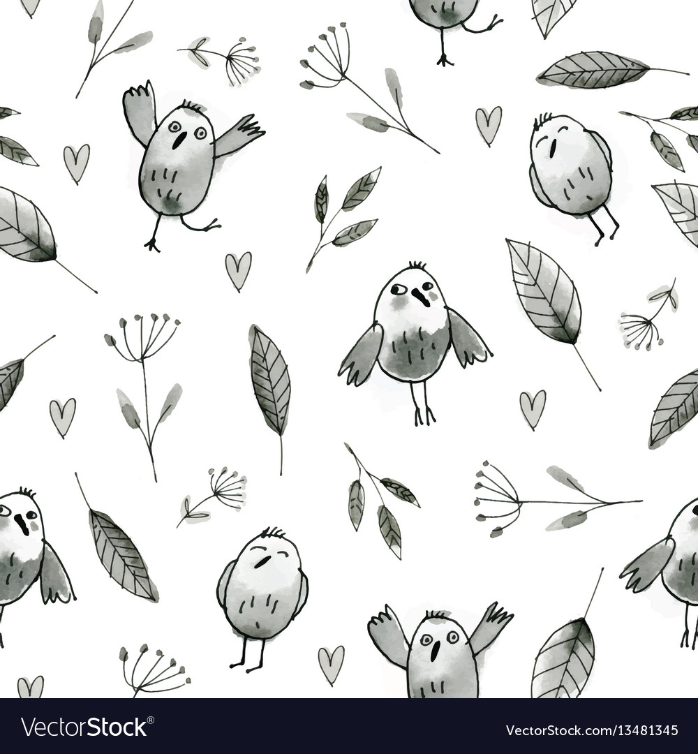 Seamless pattern with hand drawn owls and flowers
