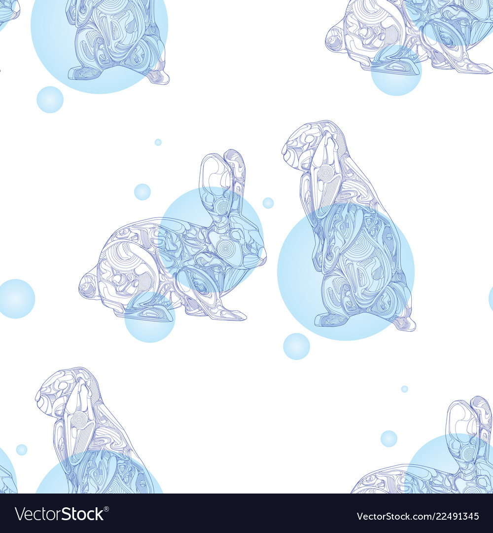 Seamless pattern with rabbits