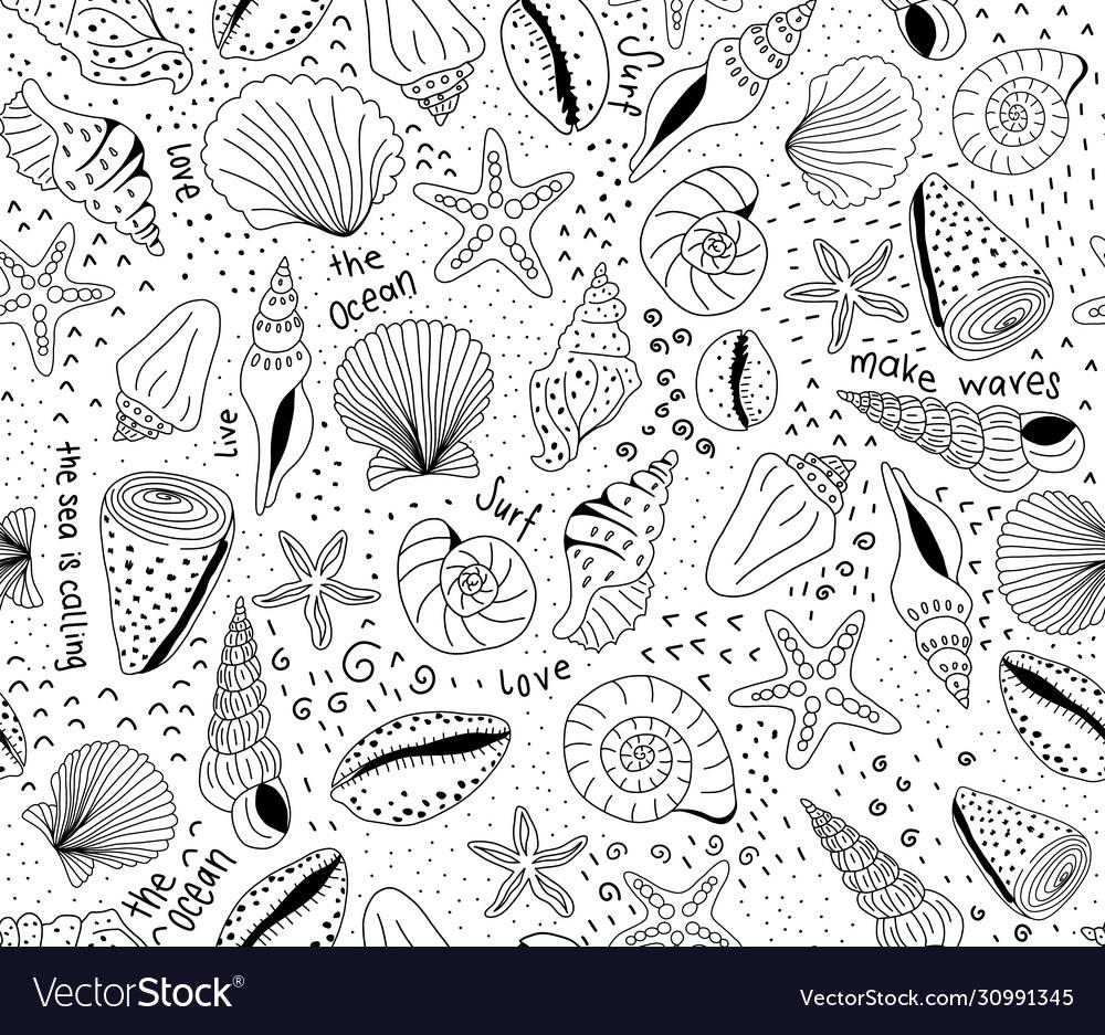 Seashells seamless pattern black on white