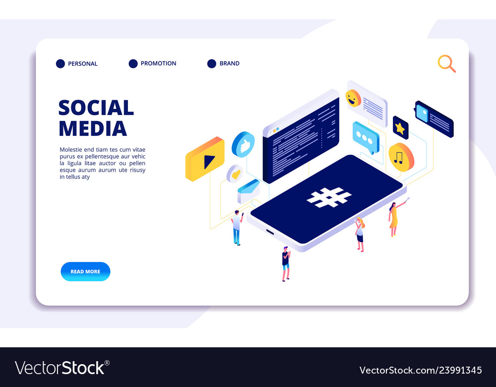 Social media isometric concept people follow