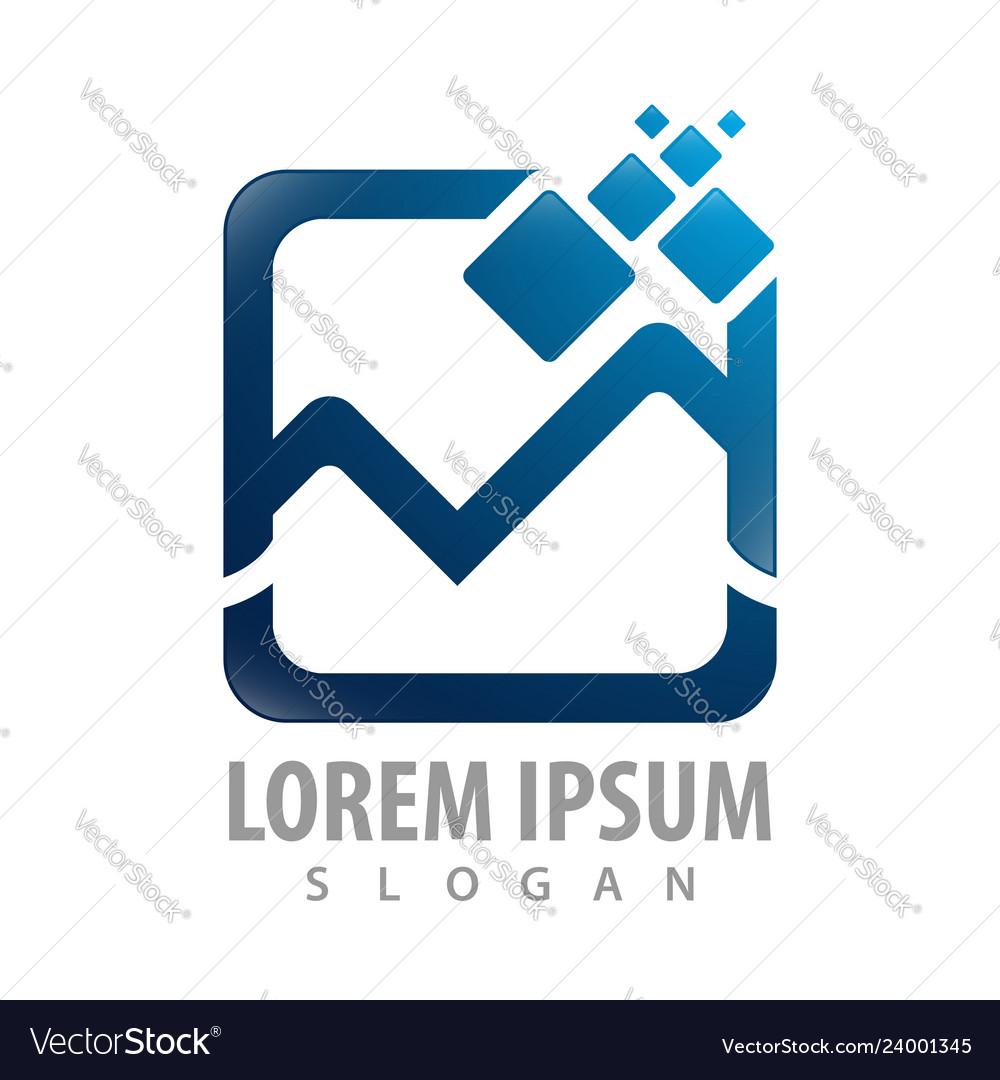 Square digital initial letter m logo concept